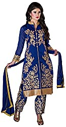 Manmauj Women's Cotton Unstitched Dress Material (MM10030DBLU, Blue)