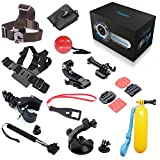 BEEWAY Sports Camera Accessories Bundle 13-in-1 Ersatzteile Sets Kit For Gopro Go Pro Hero 1 2 3 3+ 4 Silver Black Edition Original Camera, SJCAM QUMOX Wifi SJ4000 M10 Action Camera, Sunco DREAM 2 Sport Cam DV etc, includes: Chest Body Harness Adjustable Belt Strap + Elastic Adjustable Head Strap+ Extendable Handheld Telescopic Monopod Tripod Adapter+ Bike Motorcycle Handlebar Seatpost Mount+ Car Windshield Suction Cup Mount Stand Holder+ Floating Hand Grip Handle Mount +Curved and Flat Adhesive Mounts with 3M Sticker + Buckle Basic Mount with Screw + J-Hook Buckler+ Safety Tether+ Nylon Bag+ Plastic Spanner Wrench with Lanyard