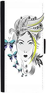 Snoogg Abstract Woman With Elegant Hair Style And Blue Butterflies Designer P...