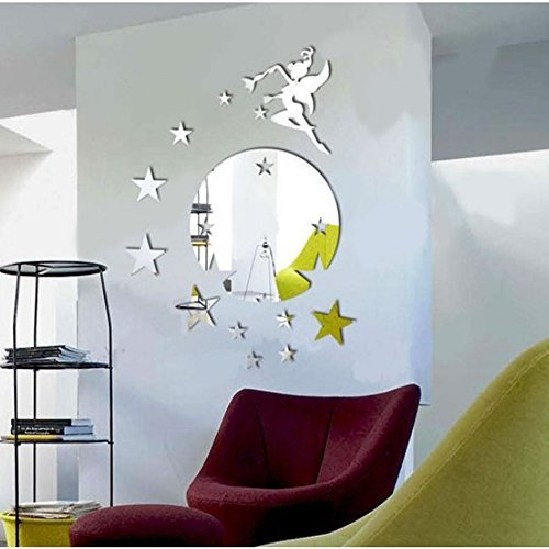 Silver Round Disk Fairy Stars Modern Stylish Fashion Art Design Removable DIY Acrylic 3D Mirror Wall Decal Wall Sticker for Decorate Interior Walls Or Windows Of Home, Bathroom, Office, Dorm, Or Store (Kirby 3ds Xl Decal compare prices)