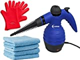 ClearMax Steam Cleaner and Sanitizing Cleaning Set with 4 Microfiber Cloths and Chef's Leading Heat Resistant Gloves, Best for Cleaning Hard Areas, Bathroom, counters, Stoves and tire rims, Scrub, Sanitize + Cleans any Top Without Abrasion, Tough on Bacte