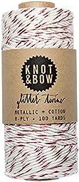 Knot & Bow 100 Yard Red Metallic Glitter Twine