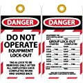 """NMC LOTAG12 """"DANGER - DO NOT OPERATE""""/""""GROUP LOCK-OUT"""" Lockout Tag, Unrippable Vinyl, 3"""" Length, 6"""" Height, Black/Red on White (Pack of 10)"""