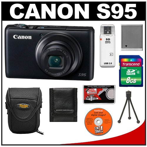 Canon PowerShot S95 10 MP Digital Camera with 8GB Card + Battery + Case + Accessory Kit