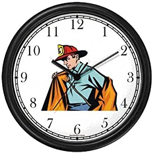 Fireman Suiting up with Red Fireman's Hat Wall Clock by WatchBuddy Timepieces (Black Frame)