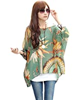 HP95(TM) Women's Bohemian Style Batwing Sleeve Chiffon Beach Loose Shirt