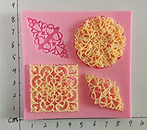 Wocuz W0721 Silicone 4 Mini Size Lace Pattern Fondant Mold Candy Making Mould Cake Embossing Decoration