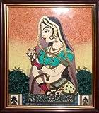 Gem Stone Painting of Lady, Art Craft & Handicraft of India