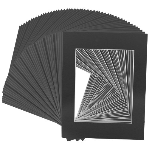 US Art Supply Art Mats Brand Premier Acid-Free Pre-Cut 5x7 Black Picture Mat Matte Face Frames. Includes a Pack of 50 White Core Bevel Cut Matte Frames for 4x6 Photos (Cardboard Photo Frame 4x6 compare prices)