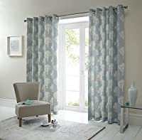 Forest Trees Duck Egg Blue White 46x72 Ring Top Lined Curtains #seertdnaldoow *cur* by Curtains