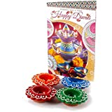 Giftacrossindia Set Of 4 Earthen Diyas With Diwali Card For Diwali Home Decor Gift Collection