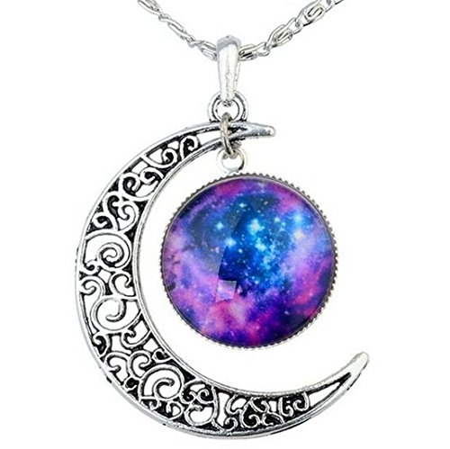 FANSING Galaxy Necklace Hollow Out Crescent Star Galactic Cosmic Moon Charm Necklaces