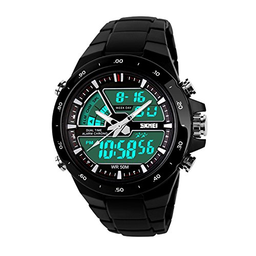 USWAT Men's Military Outdoor Sport Watches Quartz Chronograph Jelly Silicone Swim Dive Wrist Watch Black (Waterproof Jelly Watch compare prices)