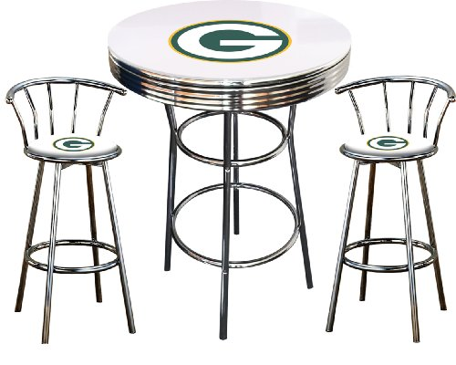 Green Bay Packers Logo Themed 3 Piece Chrome Metal Finish Bar Table Set With Glass Table Top 2