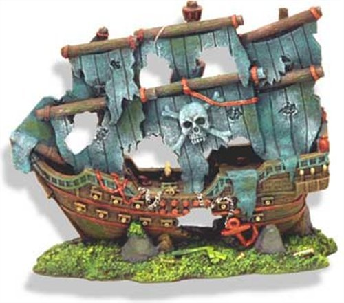 Exotic Environments Pirate s Ghost Ship Aquarium Ornament 8-Inch by 4-1 2-Inch by 7-InchB001D6WSU0 : image