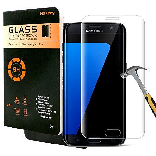 Galaxy S7 Edge Screen Protector,Nakeey Tempered Glass [Full Screen Coverage] Design Screen Protector Flim for Samsung Galaxy S7 Edge (Clear)- 1 Pack