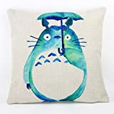 Lovely Totoro Cute Cartoon Chinchilla Throw Pillow Case Decor Cushion Covers Square 18x18 Inch Cotton Linen for Kid s Room (Green)