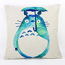 Lovely Totoro Cute Cartoon Chinchilla Throw Pillow Case Decor Cushion Covers Square 18x18 Inch Cotton Linen for Kid\'s Room (Green)