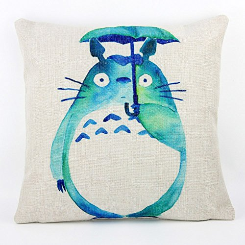 Lovely Totoro Cute Cartoon Chinchilla Throw Pillow Case Decor Cushion Covers Square 18x18 Inch Cotton Linen for Kid's Room (Green)