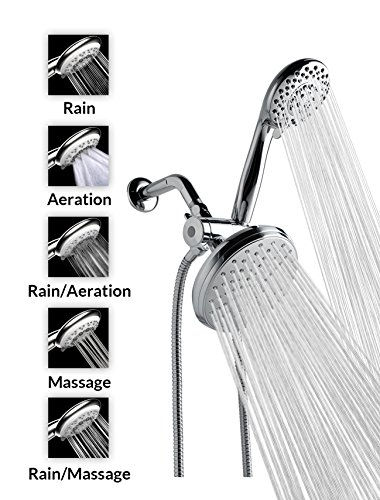 "Cheap A-FlowTM 5 Function Luxury Dual Shower Head System / 4"" Handheld Shower Head and 6"" ..."