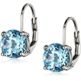 Sterling Silver Round Blue Topaz (8mm) Lever-Back Earrings