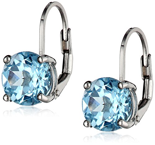 Sterling Silver Round Blue Topaz Lever-Back Earrings