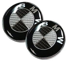 82mm/73mm Real Carbon Fiber BMW Black/Silver Hood/Trunk Emblems Badges