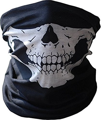 Andys Candy® Black Seamless Skull Face Tube Mask Buff Adult Sizes