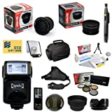 47th Street Photo Best Value Advanced Lens Kit for the NIKON DSLR D3300 D3200 D5200 D5100 D5000 D3100 D3000 D90 D80 - Includes: Opteka 0.35x Wide Angle Lens + 2.2x Extreme High Definition AF Telephoto Lens + Professional 5 Piece Filter Kit (UV - CPL - FL - ND4 and 10x Macro Lens) + Super i-TTL Bounce Zoom Flash + Wireless Remote Control + Collapsible Lens Hood + Flower Lens Hood + Snap On Lens Cap + Sensor Cleaning Kit for SLR Cameras + Lens Cleaning Pen + Stabilizing Hand Grip Strap + Soft Screen Pop-Up Diffuser + LCD Screen Protectors + $50 Photo Print Gift Card! & More