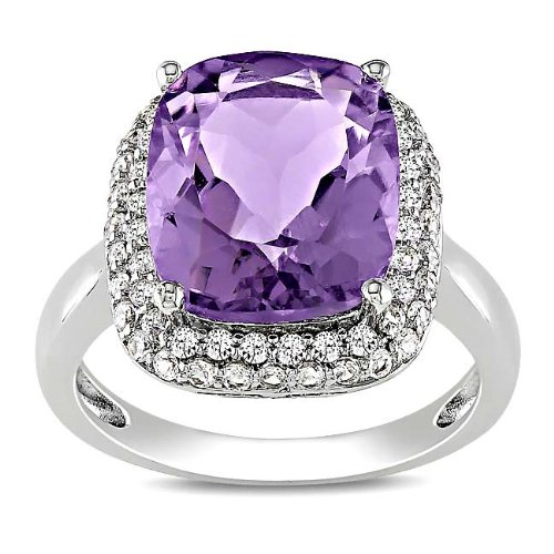 Sterling Silver 5 3/5 CT TGW Amethyst and Created White Sapphire Fashion Ring