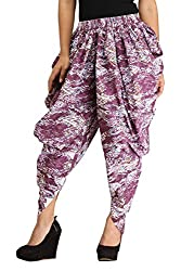 Multicolour Printed Free Size Dhoti Pants for Girls & Women in Cotton - Indo-Western Harem - Printed Aladdin Harem Salwar - by Ankita