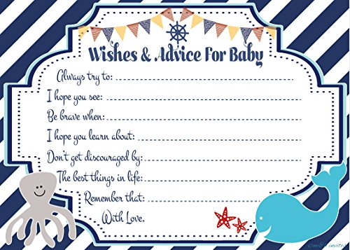 Nautical Wishes and Advice for Baby Cards - Baby Shower Activity/Game (20