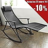 Blumfeldt chilly billy chaise longue de jardin avec for Transat a bascule exterieur