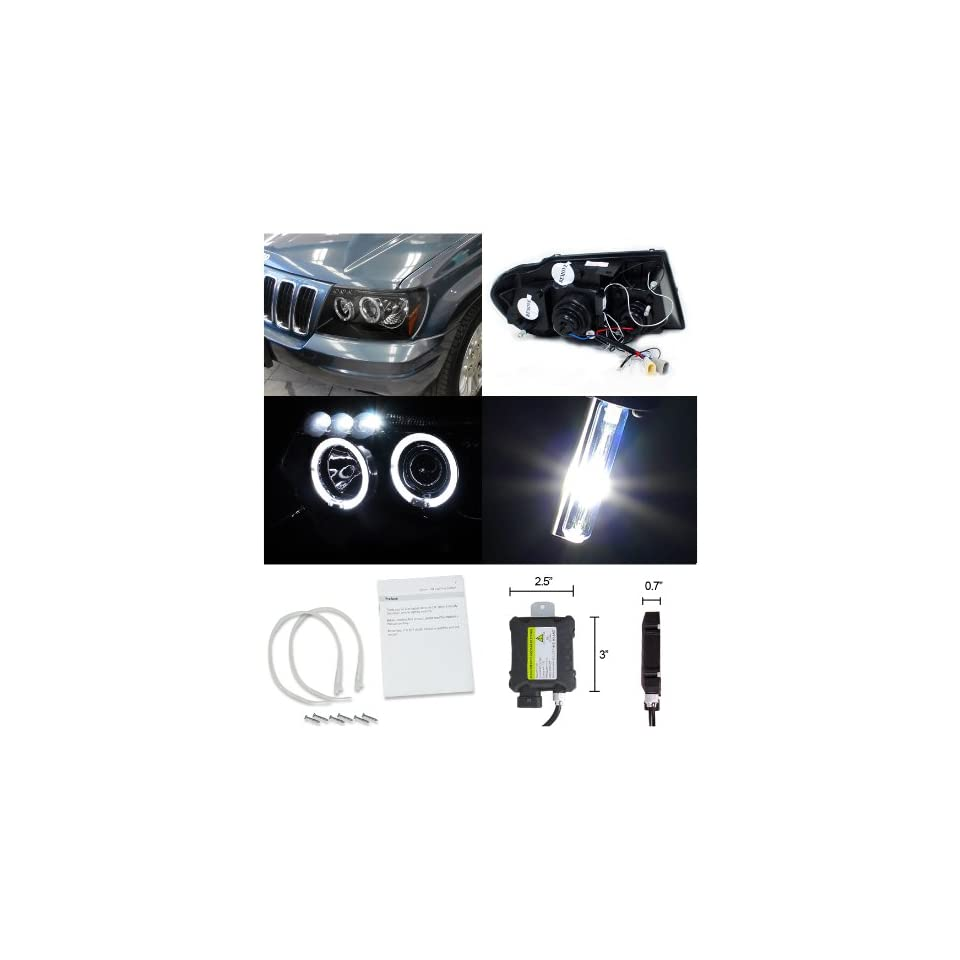 Jeep Grand Cherokee Black Halo LED Projector Headlights+H1 6000K HID Kit
