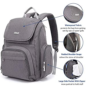 Diaper Bag, Baby bags Backpack for Mom and Dad with Changing Pad�Dark Gray)