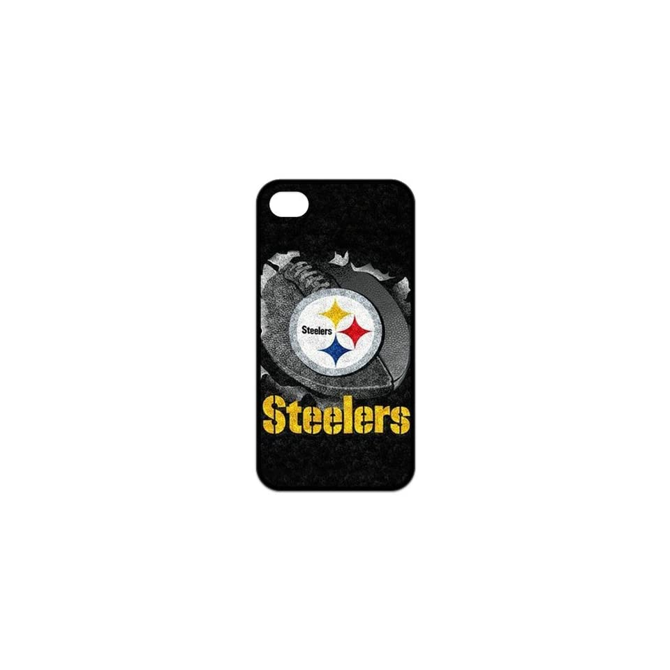 Fashion Popular NFL Pittsburgh Steelers Team Logo Durable Rubber Iphone 4 4s Case Cell Phones & Accessories
