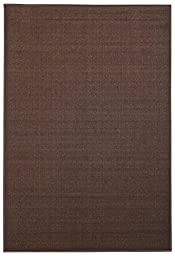 Anti-Bacterial Rubber Back AREA RUGS Non-Skid/Slip 5x7 Floor Rug | Solid Brown Plain Color Indoor/Outdoor Thin Low Profile Living Room Kitchen Hallways Home Decorative Traditional Area Rug