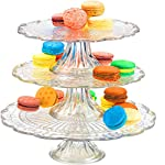 "Palais Glassware Elegent 3 in 1 Cupcake or Cake Stand - Mix and Match Use As a One Tier, Two Tier or Three Tier or As 3 Separate Cake Stands - 10"" High X 12"" Diameter (Leaf Design)"