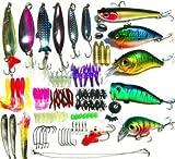 ルアー ワーム色々100個セット バスフィッシィング 釣具セット (長方形, 21×11×4cm)