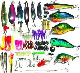 Worm lure many 100 バスフィッシィング fishing gear set (rectangular, 21 x 11 x 4 cm)