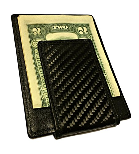 Carbon Fiber Wallet, RFID blocker with Leather and Magnetic Money Clip (Black) (Carbon Fiber Leather compare prices)