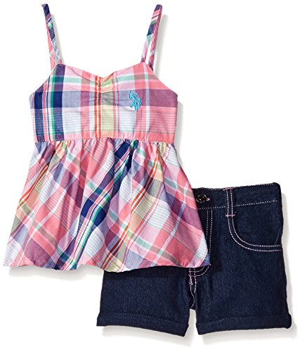 U.S. Polo Assn. Little Girls 2 Piece Plaid Baby Doll Top and Denim Short In Light, Pink, 6X