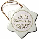 3dRose orn_154479_1 37th Anniversary Gift Gold Text for Celebrating Wedding Anniversaries Snowflake Porcelain Ornament, 3-Inch