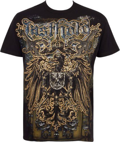Crown Swords and Griffin Metallic Gold Embossed Short Sleeve Crew Neck Cotton Mens Fashion T-Shirt