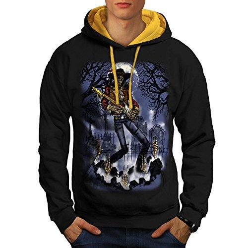 musician-skeleton-cemetery-music-men-new-black-gold-hood-xl-contrast-hoodie-wellcoda