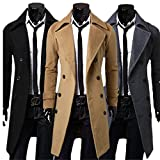 TM Mens Slim Double Breasted Overcoat Trench Winter Warm Long Jacket