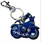 Blue Motorcycle Keychain Made From Leather with Mini Carabiner Clip Snap