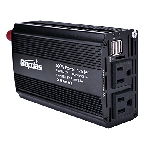 Bapdas 500W DC 12V to AC 110V Car Power Inverter with 4.2A 2 USB Ports Car Power Adapter Works for Camera Tablet Smartphone Loptop and more-Black (Vector Power Inverter compare prices)
