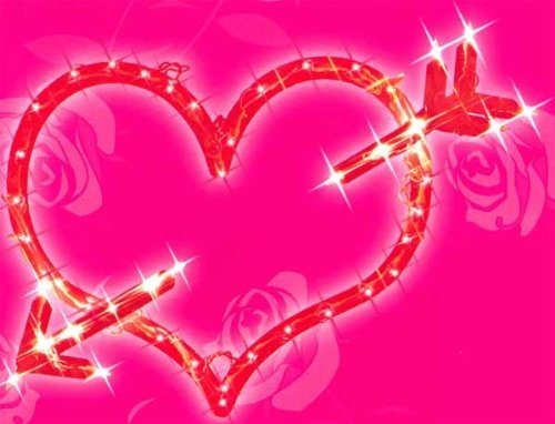Cheap 2 X 18 Lighted Red Valentine's Day Heart Bow & Arrow Window Silhouette Decoration