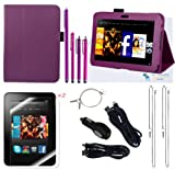 The Friendly Swede (TM) PU Leather Case Cover Bundle for Kindle Fire HD 7 Inch in Retail Packaging (NOT Compatible With Kindle Fire) (Purple)